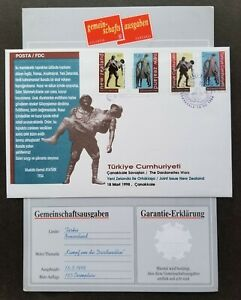 [SJ] New Zealand - Turkey Joint Issue Memorial Statues 1998 (FDC) *guaranty card