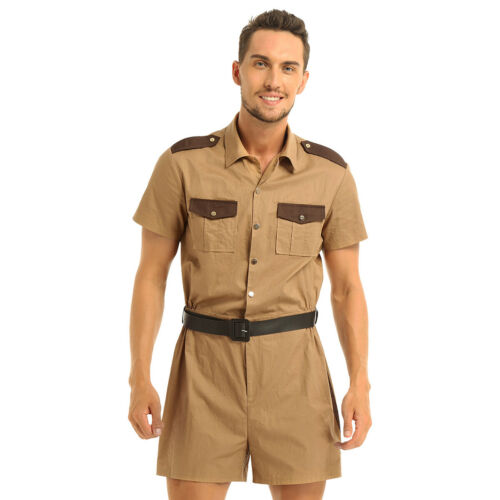 One Piece Men/'s Short Sleeve Overalls Cargo Pants Jumpsuit Romper Cosplay Outfit