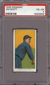 Rare 1909-11 T206 Jim Scott Piedmont 350 Chicago PSA 4 VG - EX
