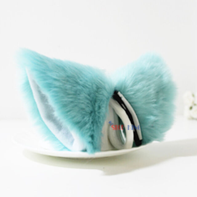 Long Fur Fox Cat Ear Hair Clip Lolita Party Anime Neko Cosplay Halloween Costume