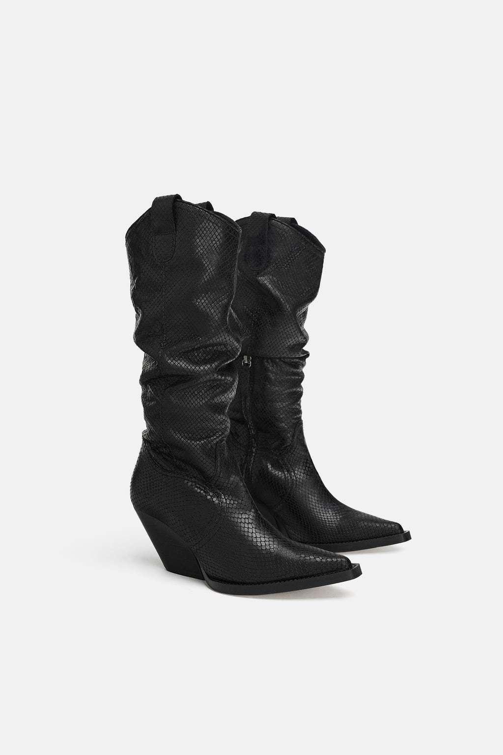 Zara Cuero Estampado De Piel De Serpiente AW18 Negro botas De Vaquero Todas las tallas ref. 5014 301