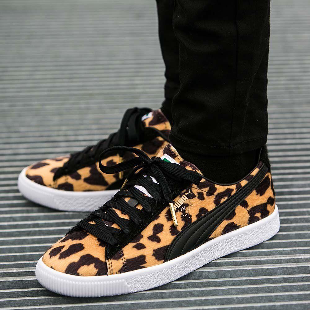 Puma Clyde Suits LEOPARD CHEETAH Black orange gold White Mens 9.5 shoes Sneakers