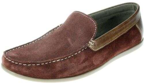 Red Tape Frome Borgoña Slip On Deck Zapatos Gamuza Cuero Hombre Barco
