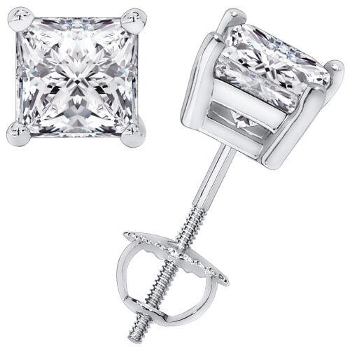 2.00CT Princess Cut Solitaire Brilliant Cut Earrings 14k White Gold