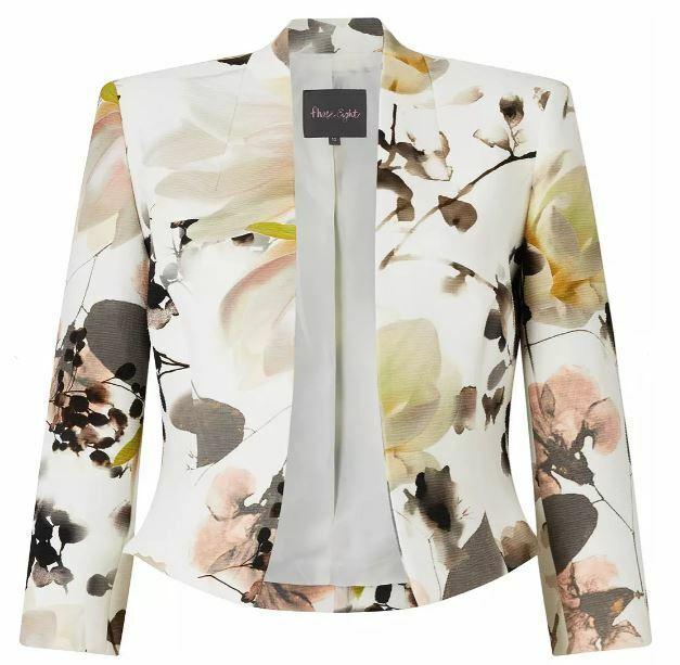 Phase Eight Womens Cream Mayumi Print Jacket UK 10 *REF51