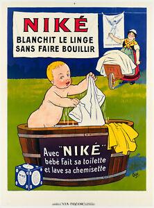 Affiche Originale - Eugène Ogé - Niké - Lessive - Bébé - Début XXème