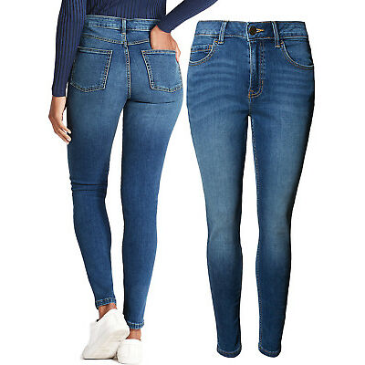 New Ladies Ex M&S Mid Rise Skinny Jeans Medium Indigo Plus Size 18-24 RRP £22.50