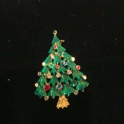 Vintage Gold Toned Pin Brooch Tree Green Rhinestones Used
