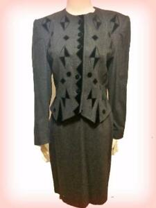 Louis Feraud Couture Vtg Suit W Germany Grey Cashmere Wool Sz 8 in Garment Bag