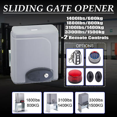 Automatic Sliding Gate Opener 1400lbs Electric Driveway Operator W//2 Remotes