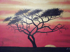 minimal sunset tree african large oil painting canvas contemporary original art