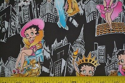 By 1/2 Yd, Betty Boop New York City Girl on Black Quilting Cotton, King, M7451