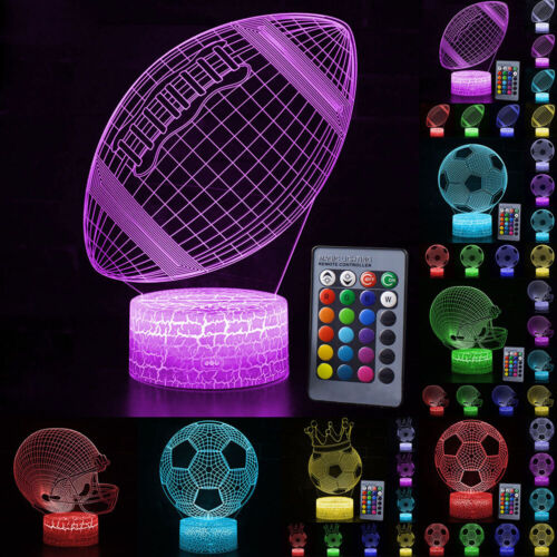Remote//Touch Control 3D Football Pattern 7//16 Color Change LED Desk Night Light