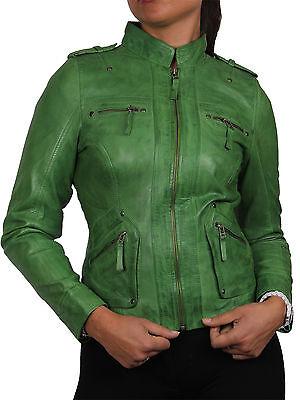 Ladies Women's Real Sheep Leather Biker Jacket women's leather Asymmettric BNWT