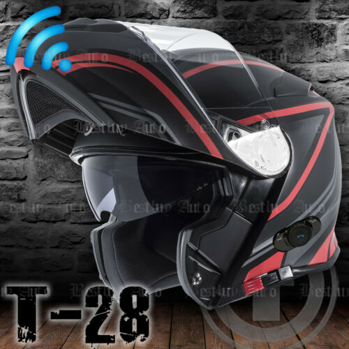 Torc T28 Flat Matte Black Vapor Red Bluetooth Modular Motorcycle Scooter Helmet