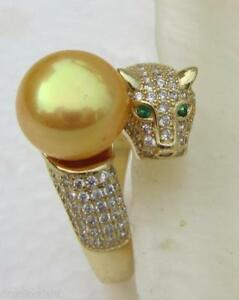 Stunning-Natural-Round-AAA-10-11mm-South-Sea-Yellow-Pearl-Leopard-Ring