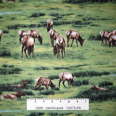 Nature Fabric - Elk Gathering Green Prairie Scenic - Riverwoods YARD
