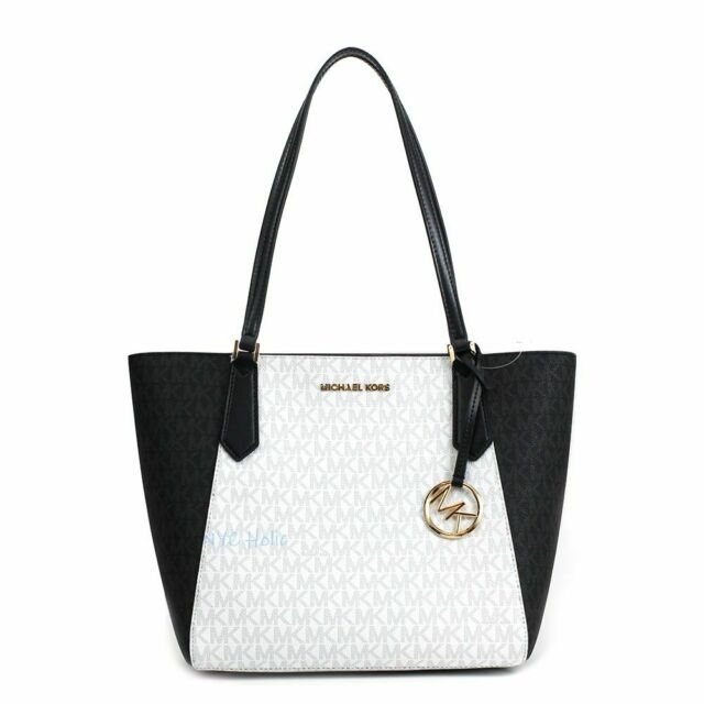 741af598cc Michael Kors Leather Kimberly Small Bonded Tote Bag in Bright White ...