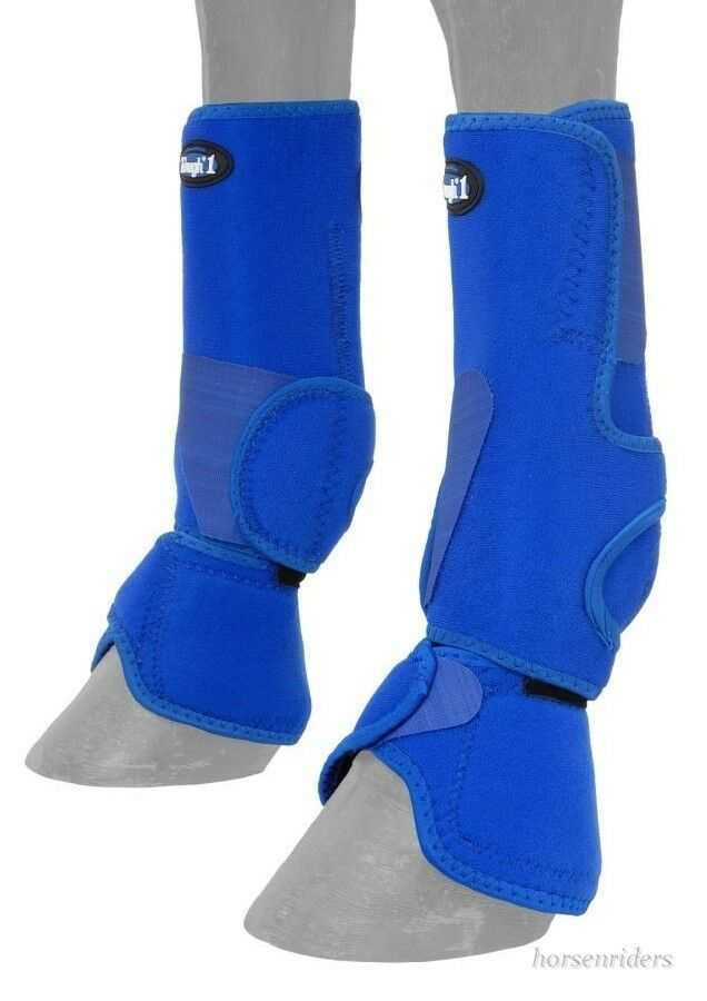 Horse Predective Sport & Bell Boots Combination 1 - Vented - Royal bluee - Medium