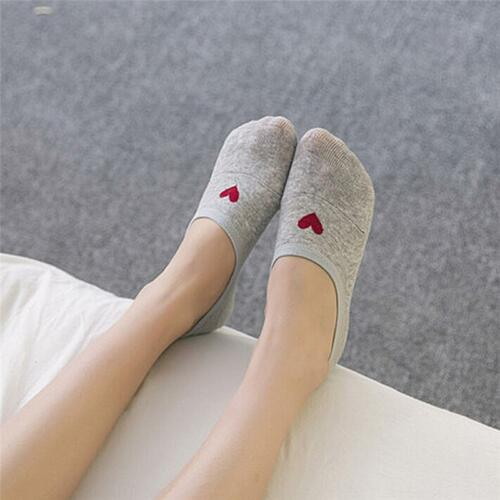 Hot Summer Women Socks Non-slip Short Silicone Invisible Cotton Heart Ankle New