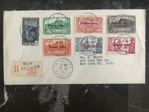 1945 Saline Reunion Cover to USA Free French Overprints
