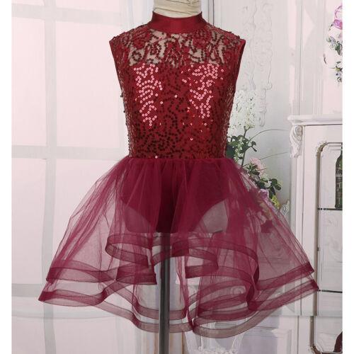 Girls Ballet Dance Tutu Dress Children Ballerina Leotard Sequins Skirts Costume