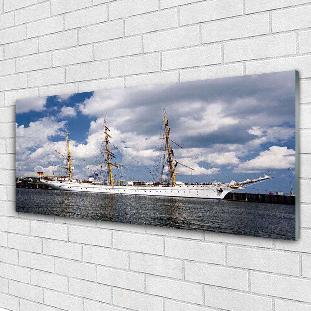 VETRO Stampa Wall Art 125x50 BARCA foto immagine acqua paesaggio