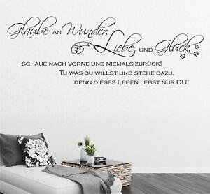 wandtattoo glaube an wunder liebe und gl ck spr che wohnzimmer flur zitate a19 ebay. Black Bedroom Furniture Sets. Home Design Ideas