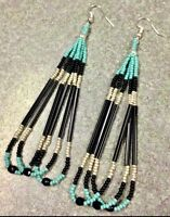 Native American Style 4 Turquoise Black Silver Beaded Earrings