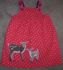 EUC Mini Baby Boden Pink Cord Jumper Dress BROWN COWS 12-18 M Girls Stars BONUS!