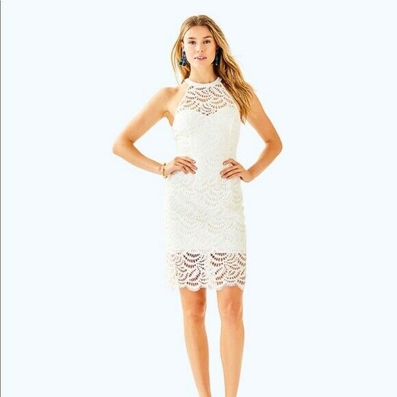 Nwt Lilly Pulitzer Kenna Halter Dress White Scallop Fan Lace 4 238