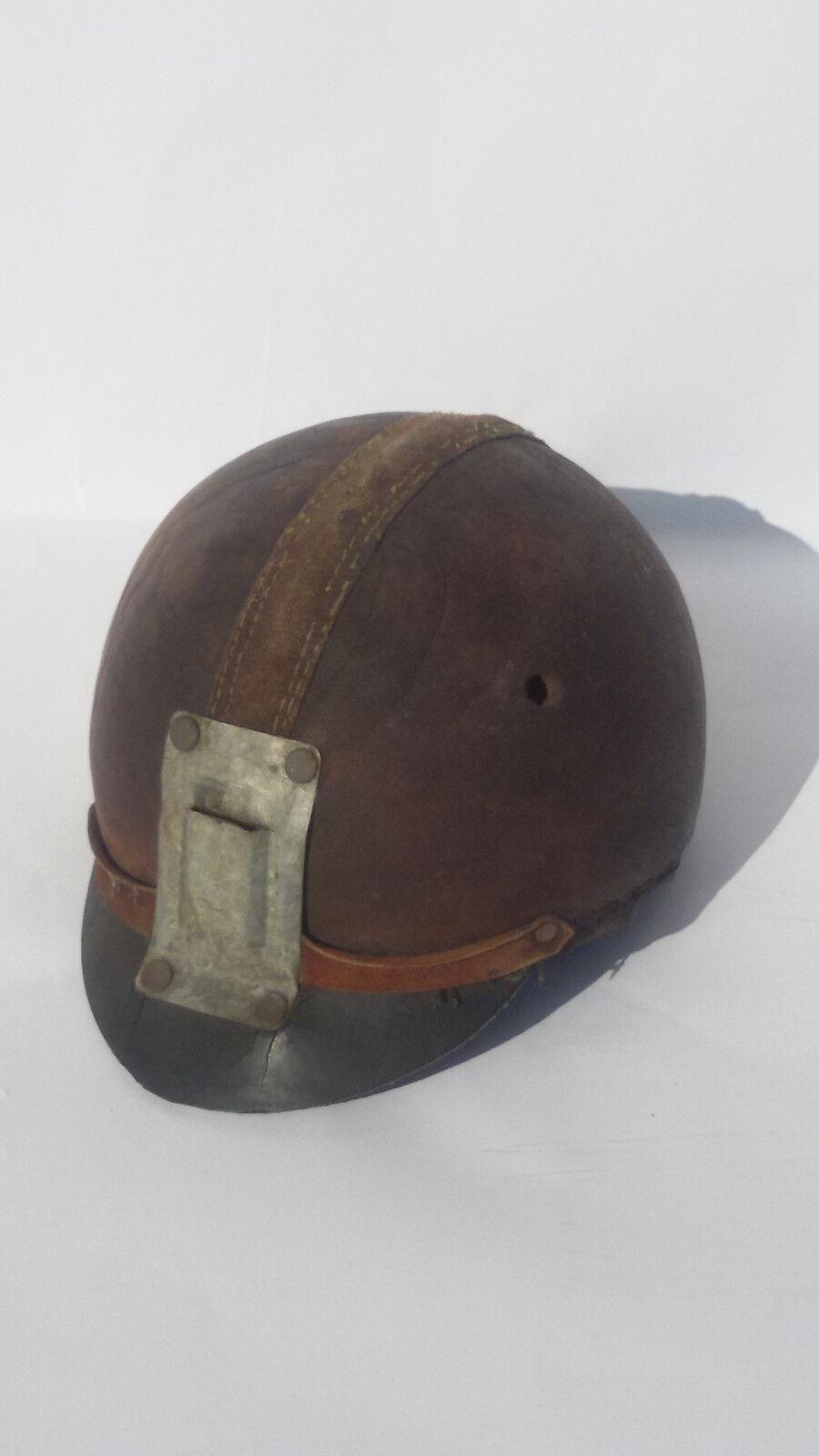 Raro Antiguo Jockey Ecuestre Cuero cap.hat