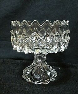 EAPG-Flattened-Sawtooth-Diamonds-Open-Deep-Compote-Candy-Dish-1850-039-s