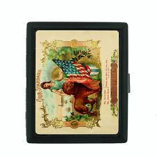 Vintage Tobacco Labels Themed D6 Small Black Cigarette Case Card Money Holder