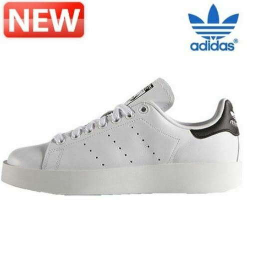 Nuevas Adidas Para Mujer Zapatos blancooos Stan Smith Negrita, tenis de moda S75213