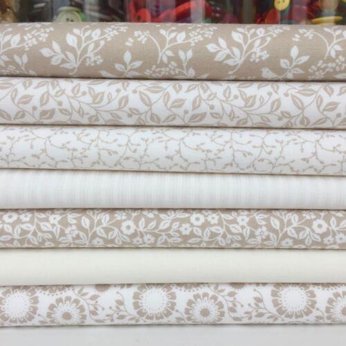 Silhouette beige /& white Bundles /& Fabrics  sold per Half Metre 100/% Cotton
