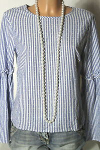 PRIMARK-Bluse-Gr-36-blau-weiss-gestreift-Schlagarm-Bluse-maritimer-Look