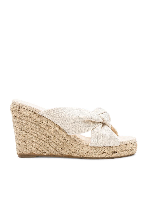 Revolve Saludos nude bow wedges sandals heels UK 5 US 7
