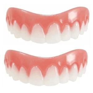 2PCS Smile Comfort Fit Flex False Dentures Teeth Top Cosmetic Dental 840983484387