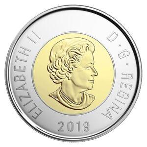 Canada 2019 $2 Toonie 14 serration & 16 serration varieties BU 2 coinsRare !