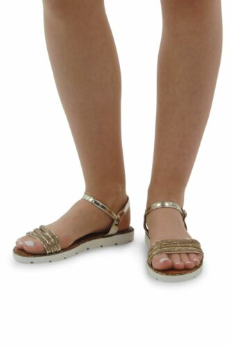 Ladies Women/'s Girls  Ankle Strap Diamante Flat Cleated sole strap sandals Shoes