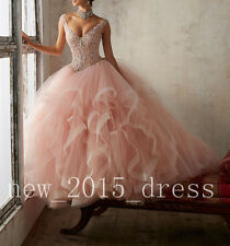 New V Neck Quinceanera Dresses Beaded Ball Gown Sweet Prom Formal Party Dresses