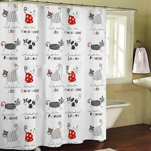 Image Is Loading 1PC French Style Novelty Cats Bathroom Shower Curtain