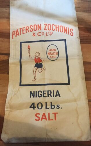 Vintage 1960/'s Paterson Zochonis /& Co Nigerian Salt Bags Great Prop/'s