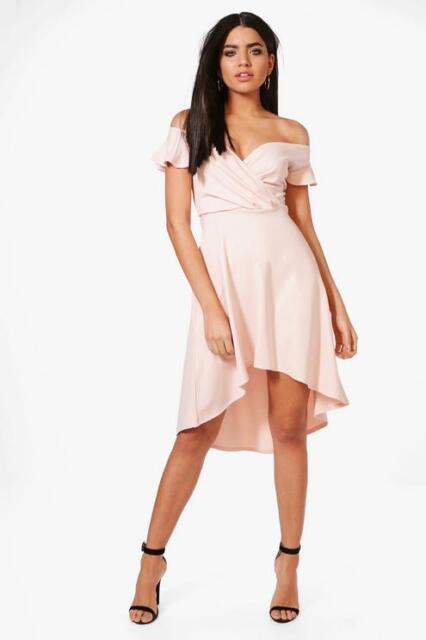 190384f14784 Boohoo Alecta Frill Off Shoulder Skater Dress Blush Pink Size UK 10 LF086  GG 17