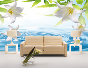 3D White Lily 562 Wallpaper Murals Wall Print Wallpaper Mural AJ WALL AU Lemon