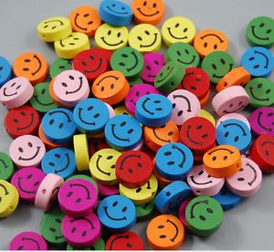 wholesale 50/100/500/1000pcs mix color 6x18mm Smiling face wood spacer beads