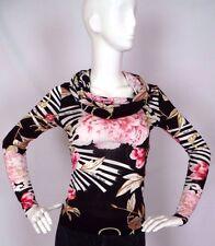 Roberto Cavalli Cowl Neck Slinky Jersey Knit Long Sleeve Floral Top Shirt Size S