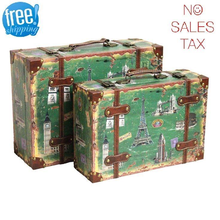 Décoratif valise de coffre 2 Vintage antique style rétro bagage voyage décor