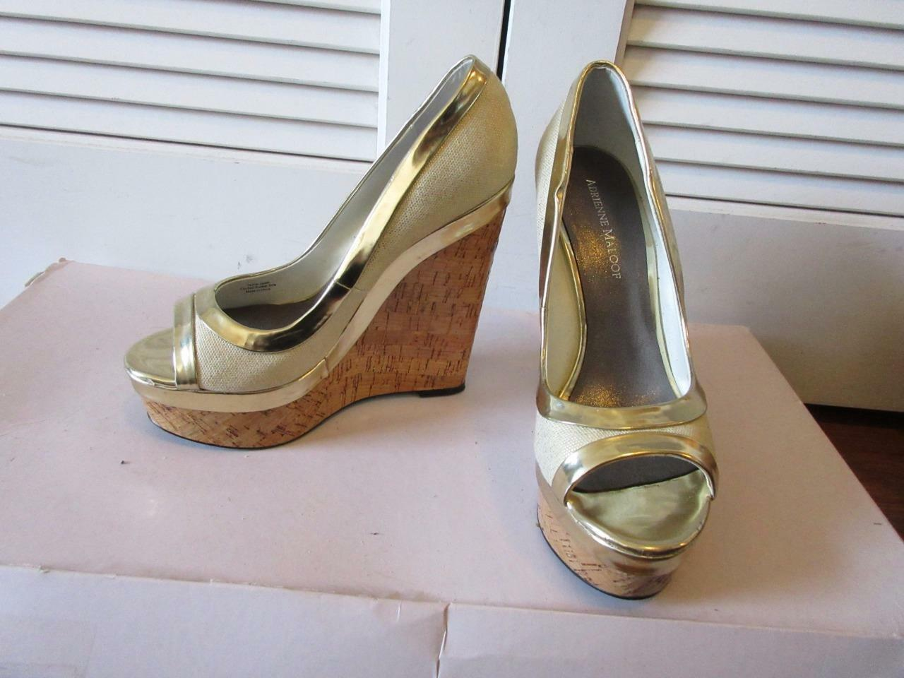 WOMENS ADRIENNE LEATHER MALOOF CREAM CANVAS/GOLD LEATHER ADRIENNE WEDGES SIZE 10M 99434a